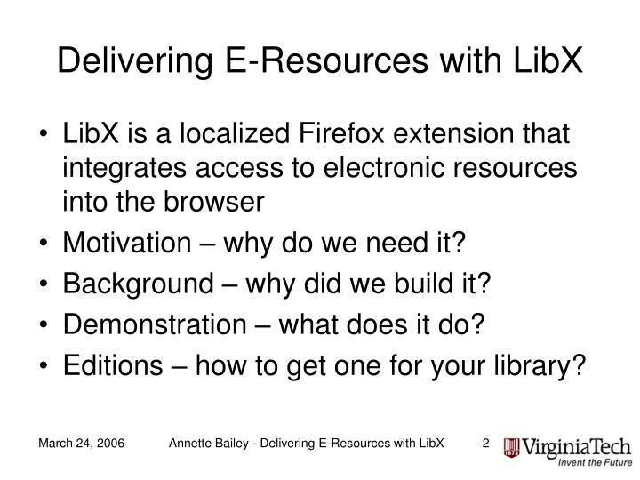 Delivering e resources with libx1