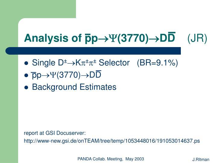 Analysis of pp