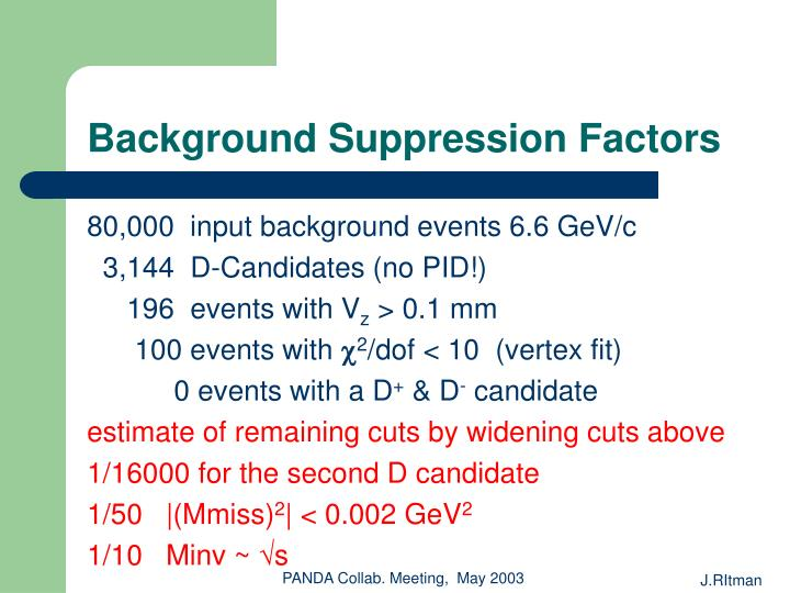 Background Suppression Factors