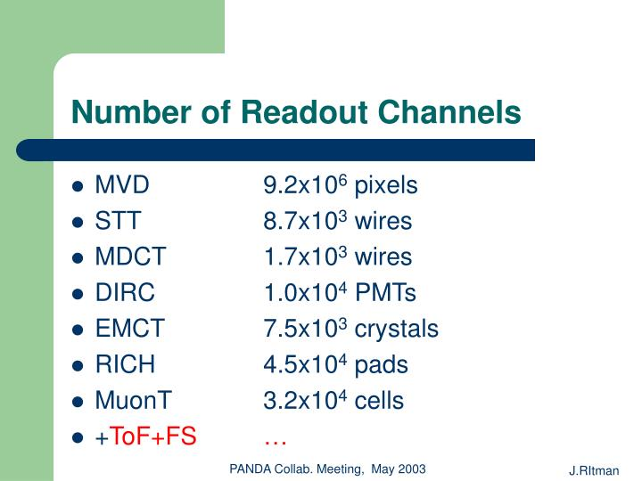 Number of Readout Channels