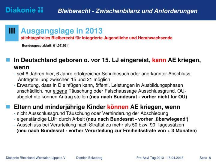 In Deutschland geboren o. vor 15. LJ eingereist,
