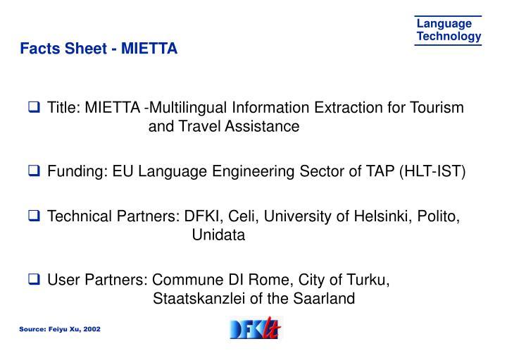 Facts Sheet - MIETTA