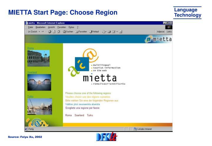 MIETTA Start Page: Choose Region