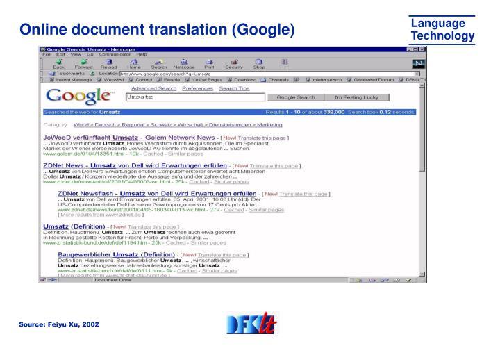 Online document translation (Google)
