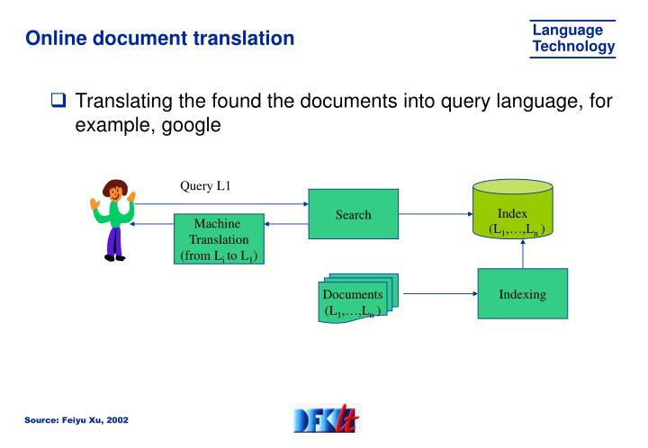 Online document translation