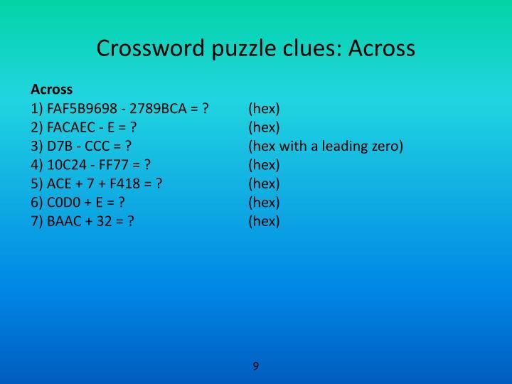 Crossword puzzle clues: Across