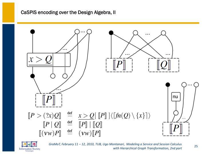 CaSPiS encoding over the Design Algebra, II