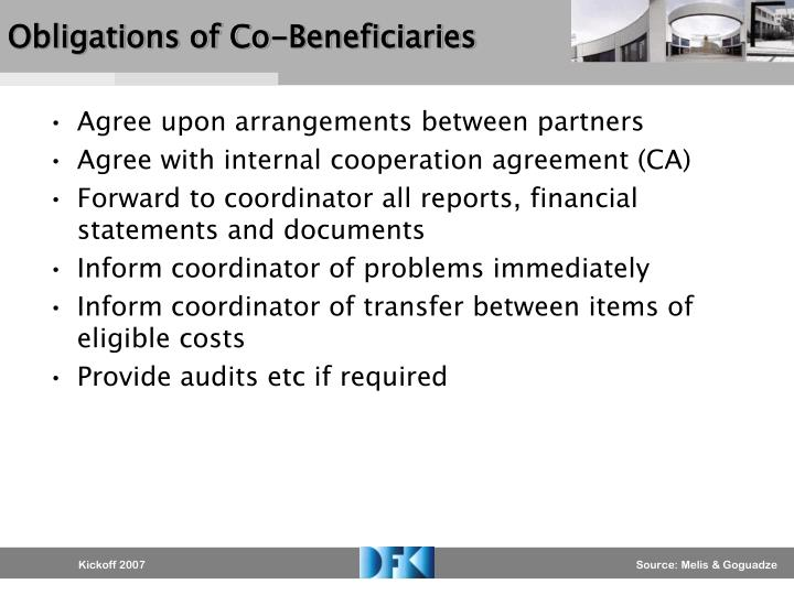Obligations of Co-Beneficiaries