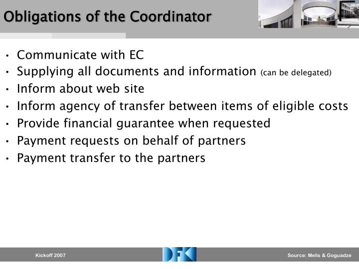 Obligations of the Coordinator