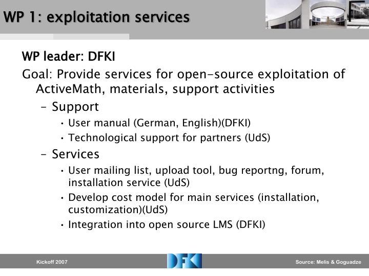 WP 1: exploitation services