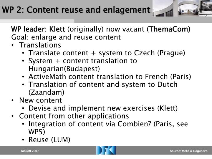 WP 2: Content reuse and enlagement