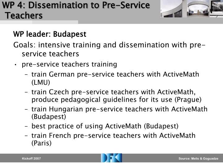 WP 4: Dissemination to Pre-Service