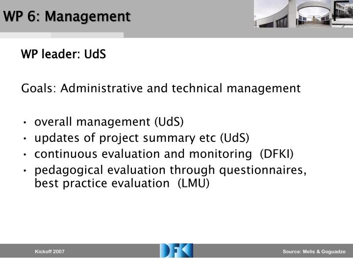 WP 6: Management
