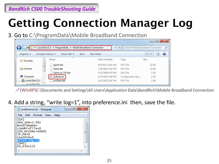 Getting Connection Manager Log