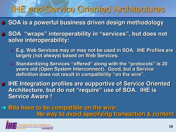 IHE and Service Oriented Architectures