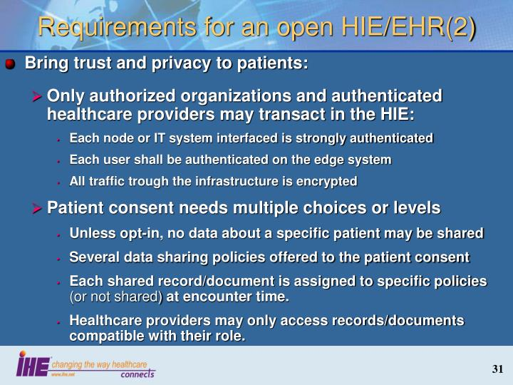 Requirements for an open HIE/EHR(2)