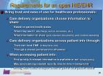 requirements for an open hie ehr
