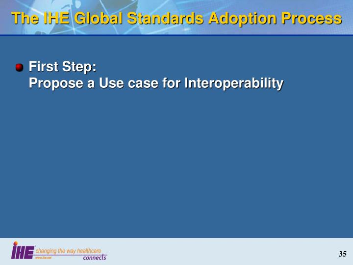 The IHE Global Standards Adoption Process