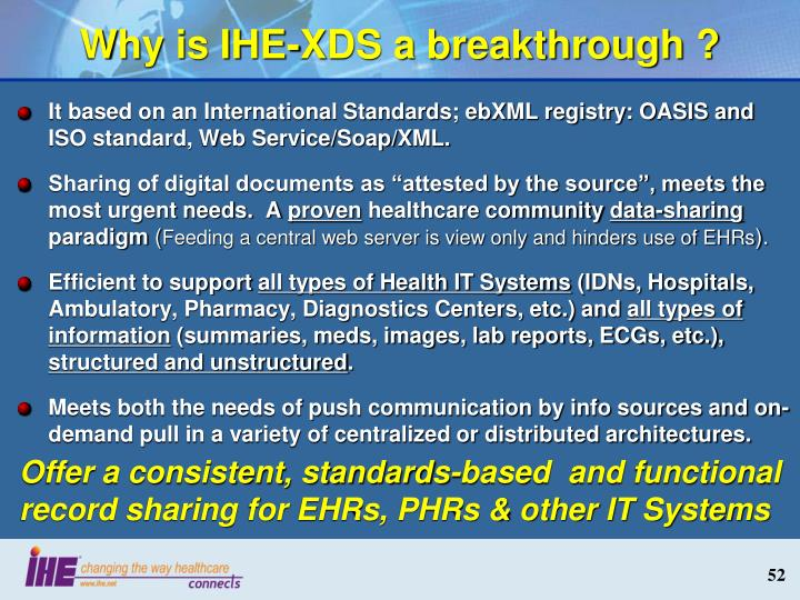 Why is IHE-XDS a breakthrough ?