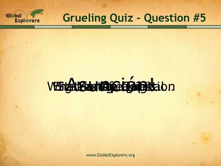 Grueling Quiz - Question #5