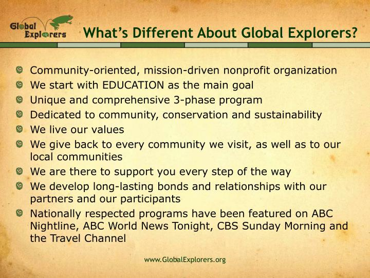 What's Different About Global Explorers?