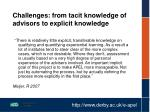challenges from tacit knowledge of advisors to explicit knowledge