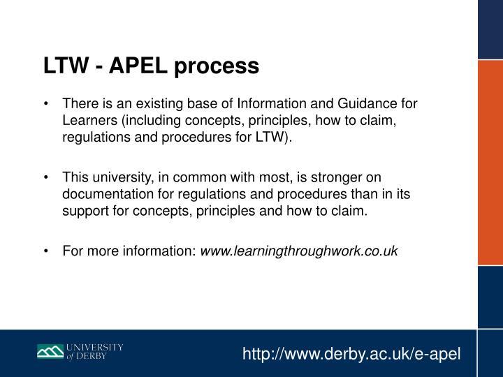 LTW - APEL process