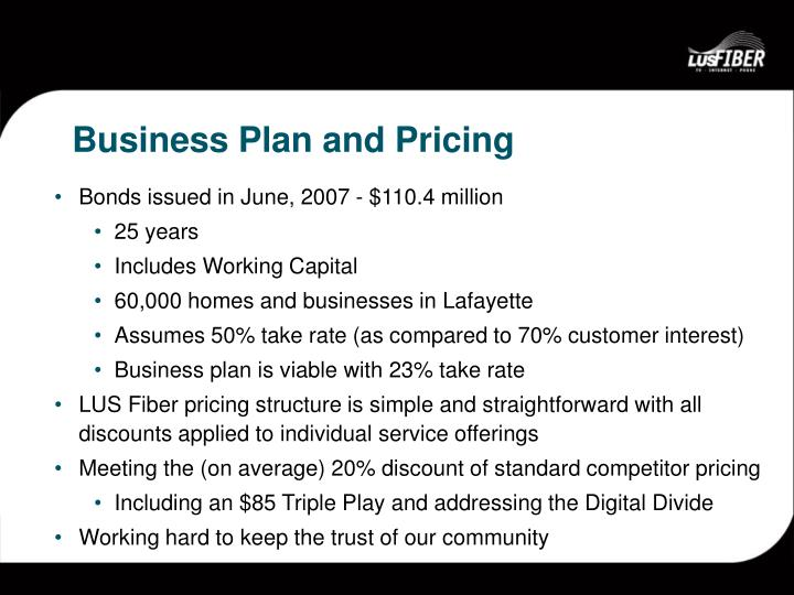 Business Plan and Pricing