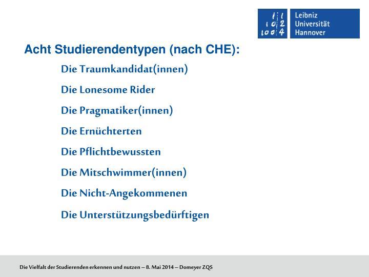 Acht Studierendentypen (nach CHE):