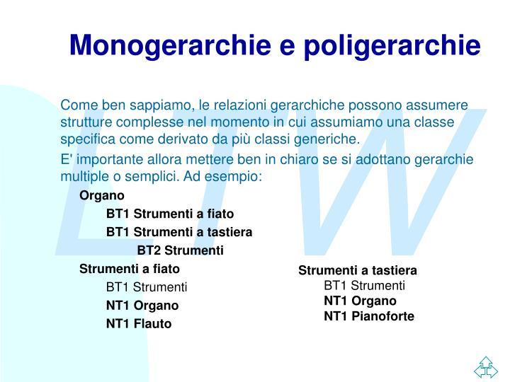 Monogerarchie e poligerarchie