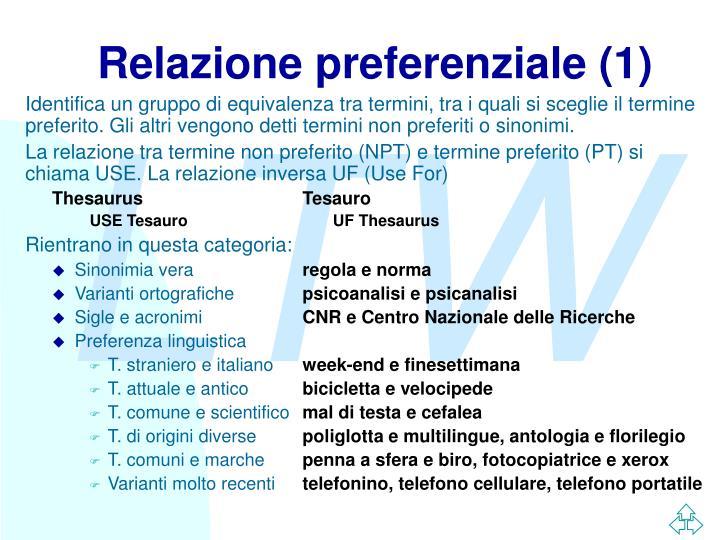 Relazione preferenziale (1)