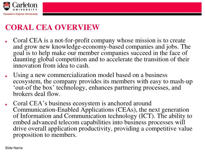 CORAL CEA OVERVIEW