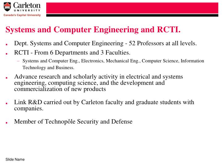Systems and Computer Engineering and RCTI.
