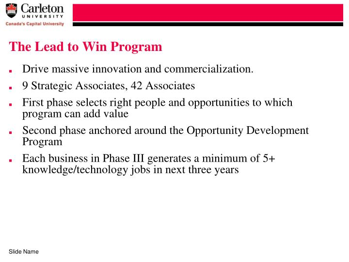 The Lead to Win Program
