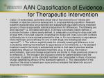 aan classification of evidence for therapeutic intervention
