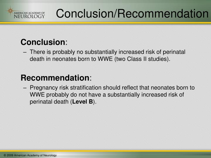 Conclusion/Recommendation