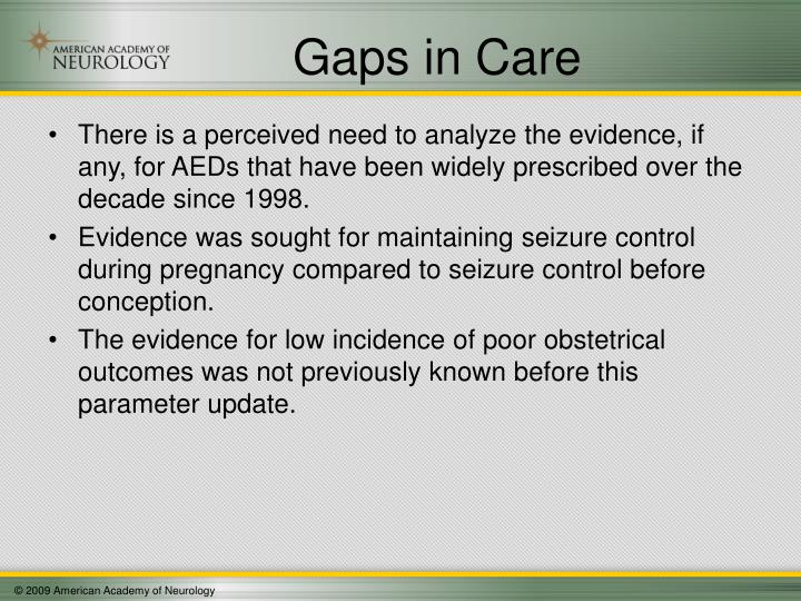 Gaps in Care
