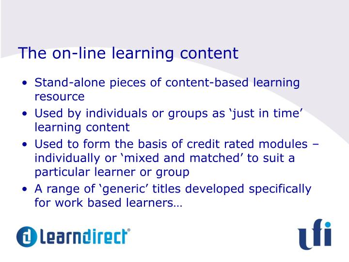 The on-line learning content