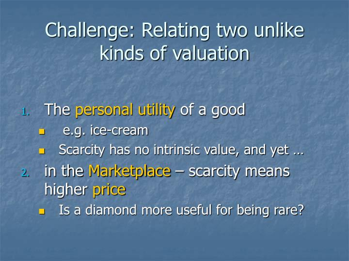 Challenge: Relating two unlike kinds of valuation