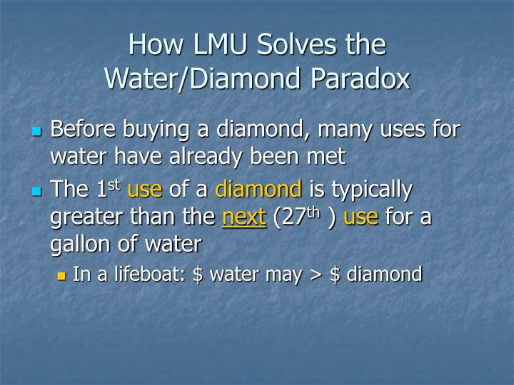 How LMU Solves the Water/Diamond Paradox