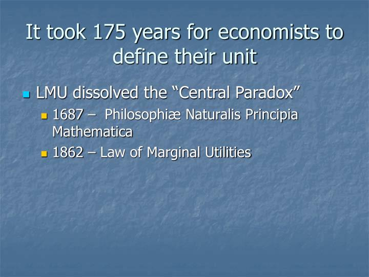 It took 175 years for economists to define their unit