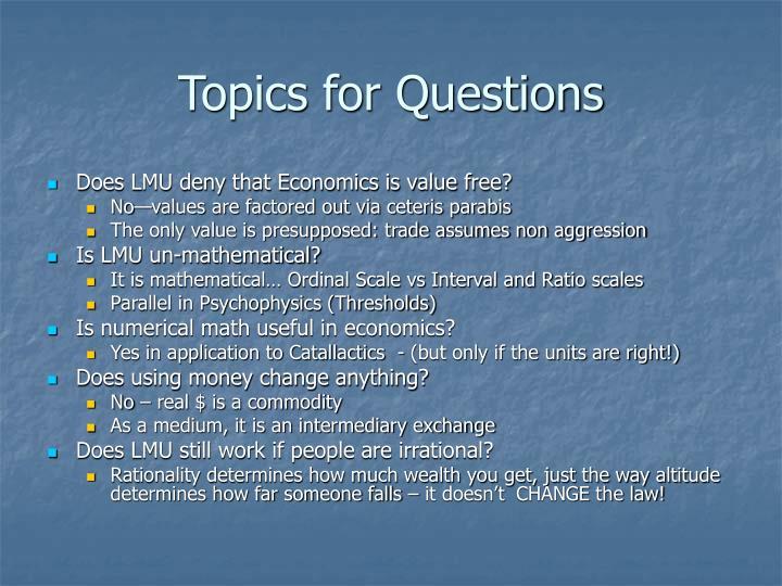 Topics for Questions