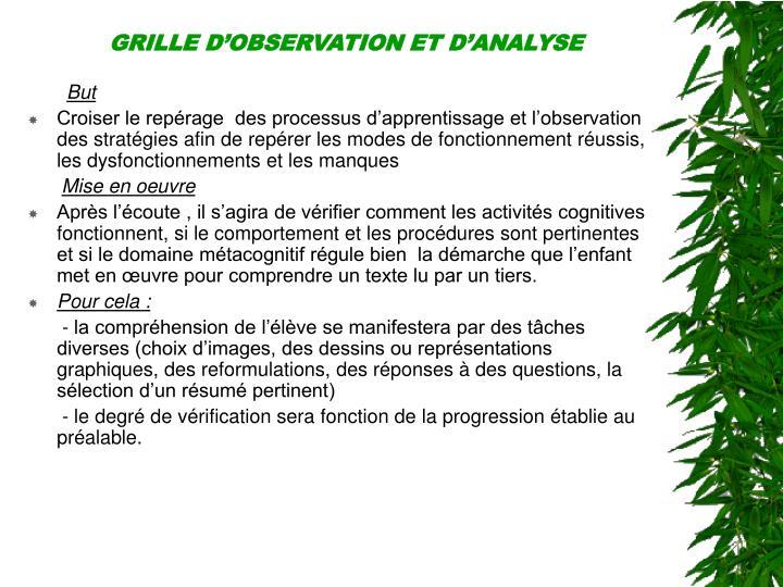 GRILLE D'OBSERVATIONET D'ANALYSE