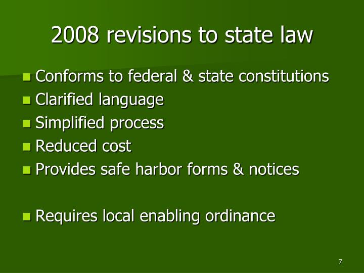 2008 revisions to state law