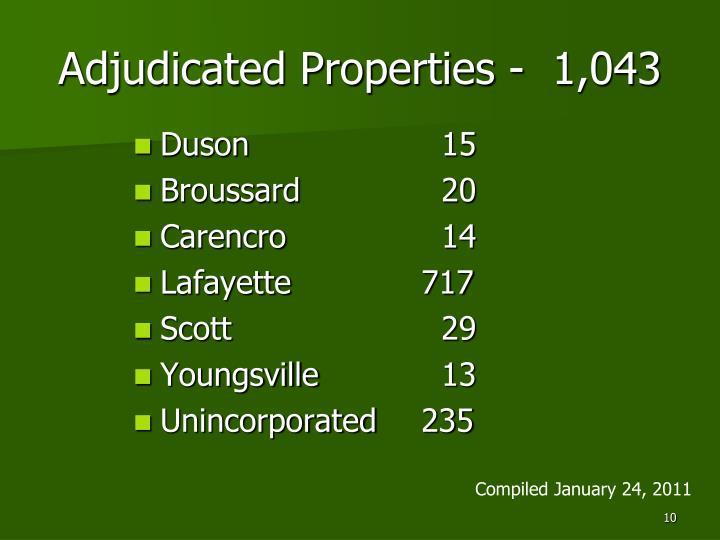 Adjudicated Properties -  1,043