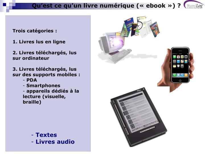 Qu'est ce qu'un livre numérique(«ebook») ?