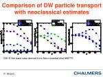 comparison of dw particle transport with neoclassical estimates