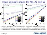 trace impurity scans for ne ar and w