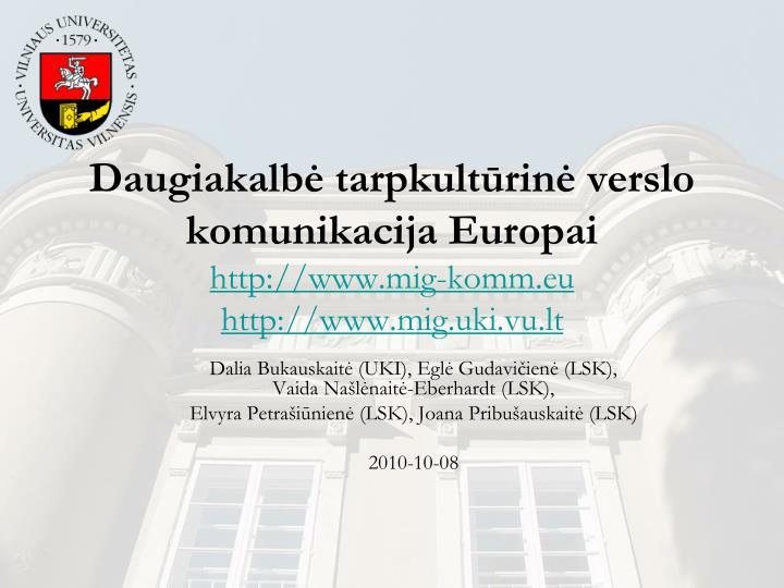 Daugiakalbė tarpkultūrinė verslo komunikacija Europai