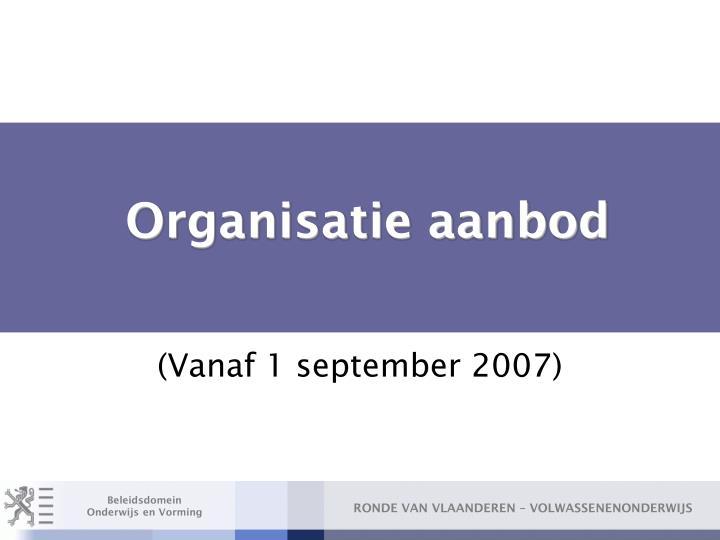 Organisatie aanbod
